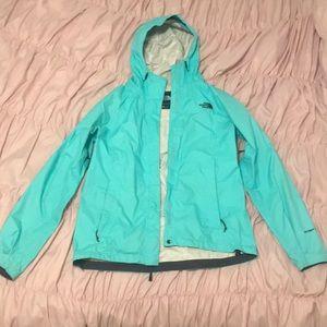 Teal North Face Rain Jacket